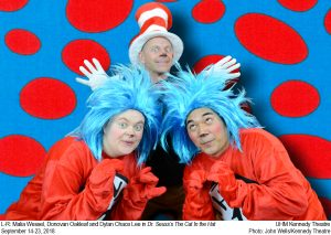 "Publicity photo for ""The Cat in the Hat,"" featuring Thing 1 and Thing 2 crouching with The Cat in the Hat behind them."