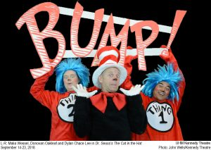 "Publicity photo for ""The Cat in the Hat,"" featuring Thing 1 and 2 and The Cat in the Hat holding up letters that spell ""Bump!"""