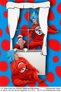 "Publicity photo for ""The Cat in the Hat,"" featuring Thing 1 and 2 and The Cat in the Hat playing around a window"