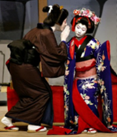 Two performers in kimonos as part of the Asian Theatre focus
