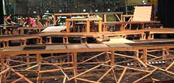Set Construction; wooden beams and platforms