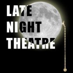 "Logo for ""Late Night Theatre"" with moon and a chain like one used to turn off a ceiling fan"