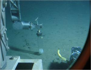View of the sediment coring process, from inside the submersible.