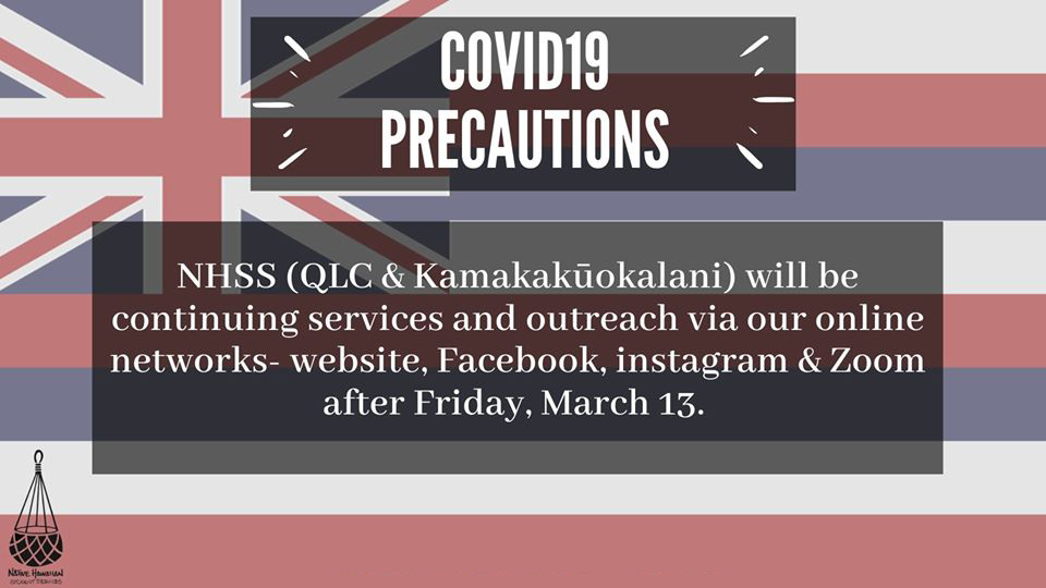 Due to the global public health crisis caused by the Coronavirus (COVID19), we are postponing ALL Native Hawaiian Student Services events and programs including the 4th annual Lāhui Hawaiʻi Research Conference: ʻIke 2020. Until further notice, all student services and programming will be provided through our online platforms. Please stay tuned to our website, list-serv, Facebook and instagram. While we look forward to future in-person programming and a potential Fall 2020 conference date. NHSS will continue its services and outreach via our various networks (social media, website, telephone, email). These modified services will begin Monday, March 16 and will include daily Zoom(link in bio) conferencing from 12pm-2pm for students with questions and concerns. In addition, we will also be providing a hotline where students can leave messages Monday-Friday and receive same-day responses. Stay healthy and stay informed. tag