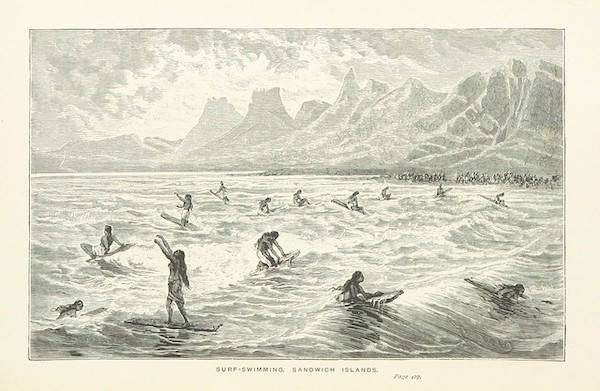 <p>Fig. 2. An image taken from 'Captain Cook's Voyages around the World' showing what surfing might have looked like at that time.</p>