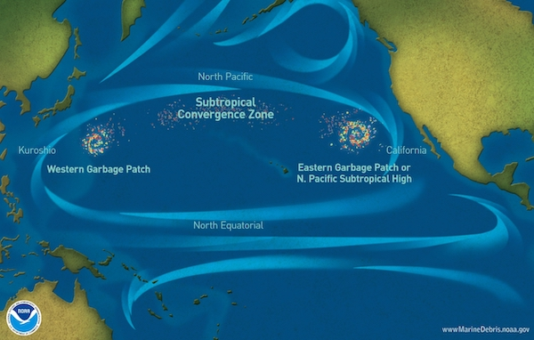 <p>Fig. 4. The Great Pacific Garbage Patch is a collection of marine debris in the North Pacific Ocean that collect due to the gyre circulation.</p>