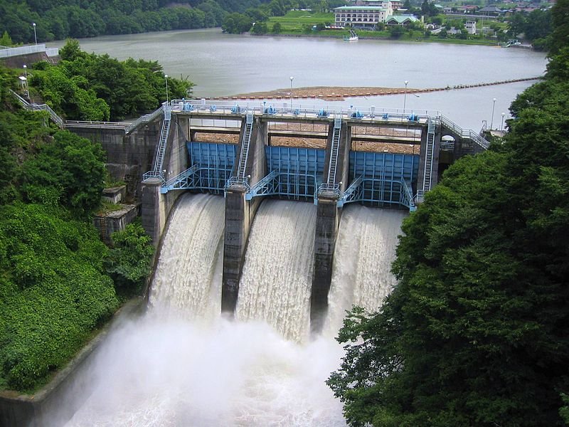 <p>Fig 1A. This dam in Japan can store energy when the water passes and spins a turbine generator.</p>