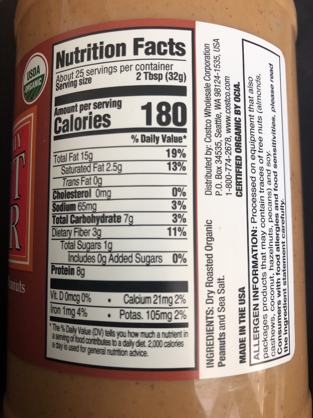 <p>Fig. 2. This peanut butter food label gives nutrition and ingredient information.</p>