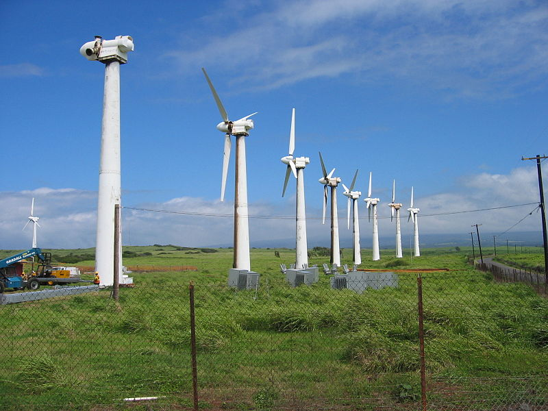 <p>Fig 1B. The Kama'oa Wind Farm on the Big Island of Hawaii stores enery when the wind is blowing and converts it to electricity for future use.</p>