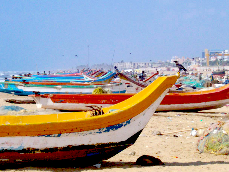 <p>Fig. 1.&nbsp;OLP 6. Fishing boats in Chennai, India.</p>