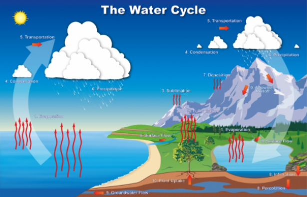 <p>Fig. 5. The water cycle has a big influence on weather and climate.&nbsp;</p><br />
