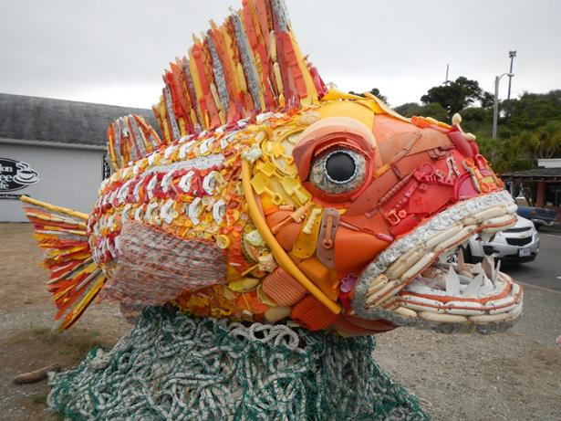 <p>Fig. 6. This marine debris sculpture in Bandon, Orgeon is named Henry the Fish. The organization Washed Ashore rallies volunteers to clean beaches, using the collected debris to create larger-than-life sculptures of the marine life affected by ocean trash.</p><br />