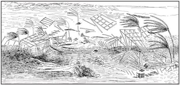 <p>Fig. 1.&nbsp;Artist's rendering of the destruction during the Hawaiʻi hurricane of 1871.</p><br />