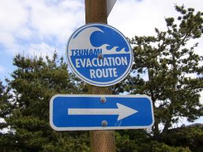 <p>Fig. 1. A tsunami evacuation sign guides people on a safe route to avoid danger in case of a tsunami.</p>