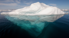 <p>Fig. 2a. An iceberg in the arctic floats freely in the water.</p>