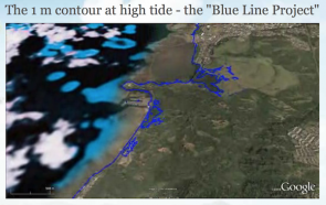 "<p>Fig. 1. A snapshot of the ""Blue Line Project"" showing high tide with a 1 m sea level increase. Follow the link below to see the full animation.</p>"