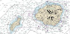 <p>Fig. 2.&nbsp;A nautical chart of the islands of Ni'ihau and Kaua'i. Nautical charts are a type of map showing water depths and other information used for navigation.</p><br />