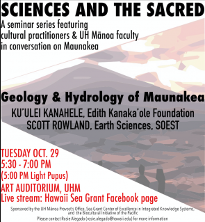 <p>Fig. 1. Sciences and the Sacred—seminar on Geology and Hydrology of Maunakea, Oct 29, 2019.</p><br />