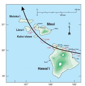 <p>Fig. 3.&nbsp;Reconstructed track of the 1871 hurricane across the islands of Hawaiʻi and Maui.</p><br />