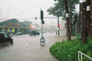 <p>Fig. 6. A flooded intersection (near the corner of Keeaumoku &amp; Makaloa Streets in Honolulu) reveals the potential dangers of excess rain. This photo was taken in 2006.</p>