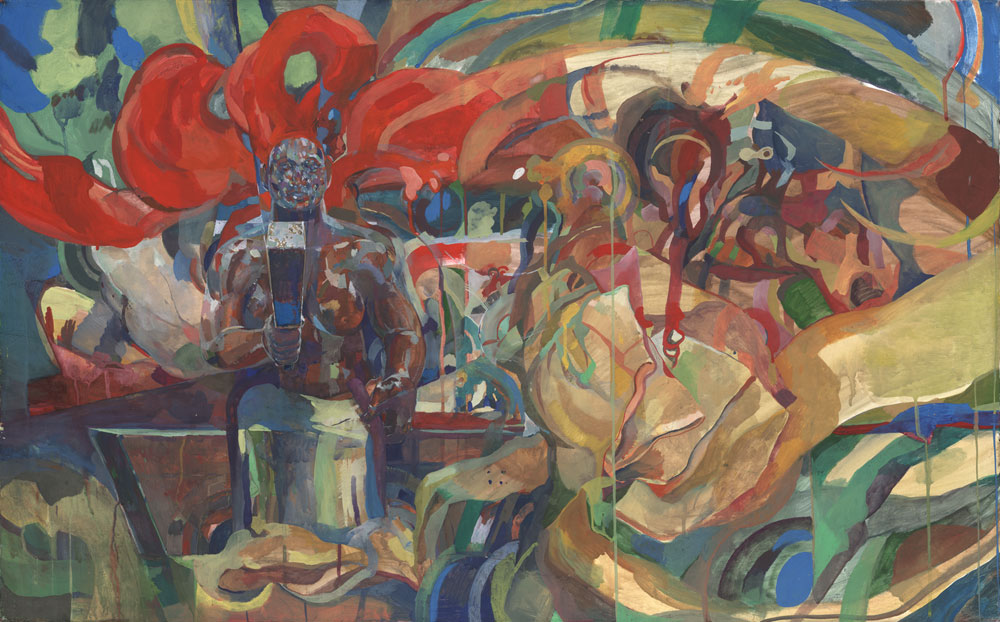 Image shows art rendered in opaque watercolor, depicting several persons making barkcloth in muted jewel tones and in a somewhat abstract style