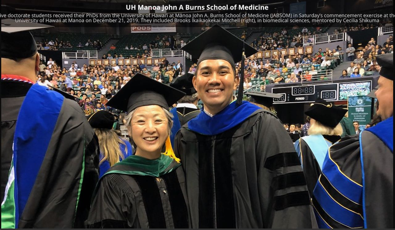 Dr. Shikuma and Brooks Mitchell at Commencement, December 2019