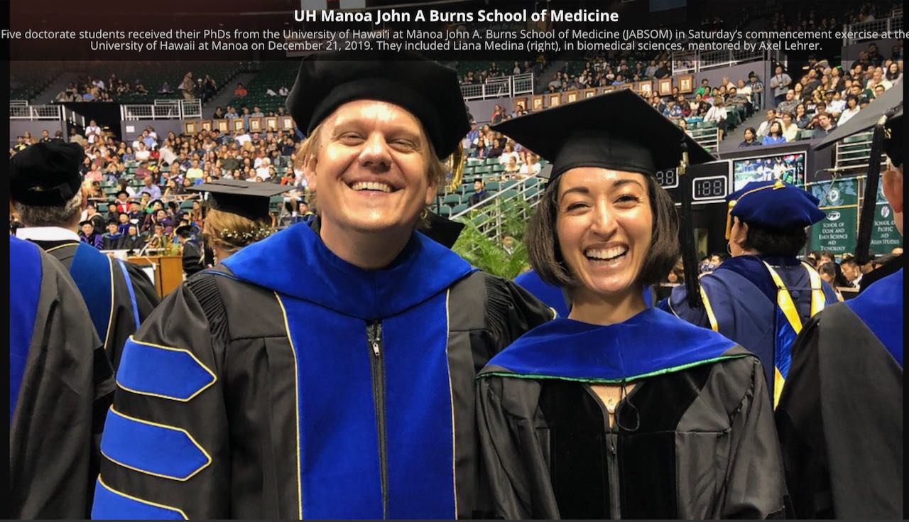 Dr. Lehrer and Liana Medina at Commencement, December 2019