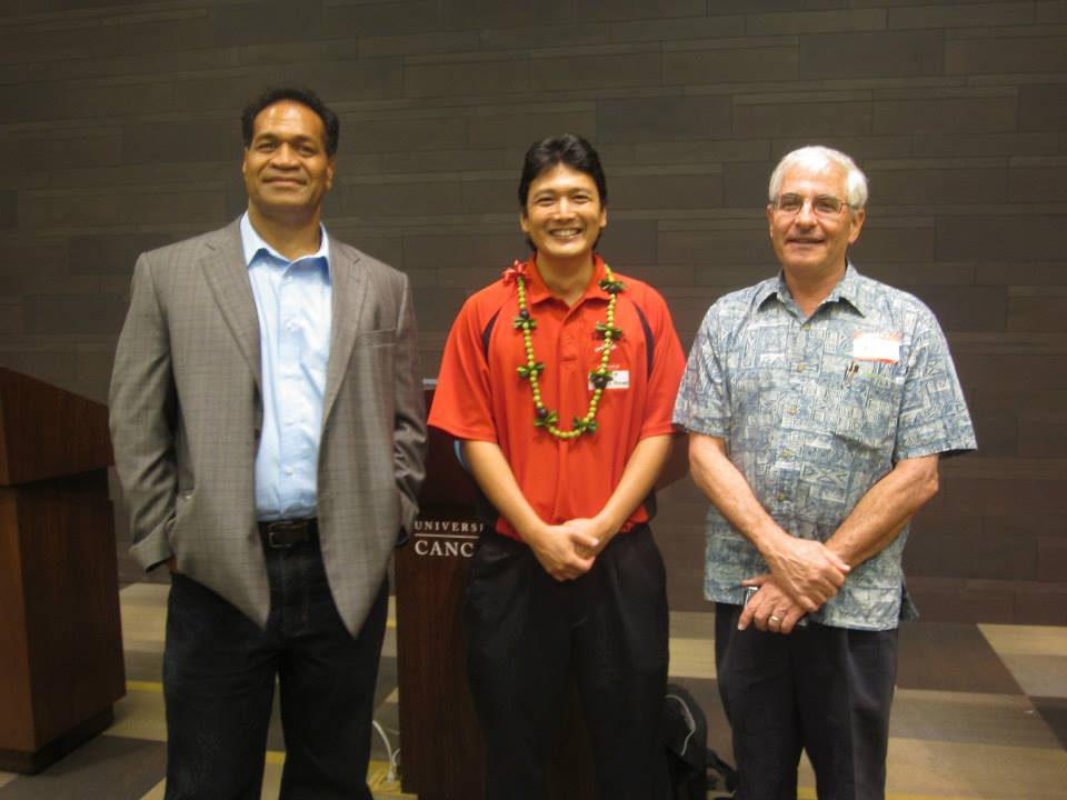 ASM President Pakiele Kaufusi (JABSOM UH Manoa), keynote speaker Jonathan Awaya (UH Hilo), and ASM Councilor Paul Fox  (Hawaii Dept. of Health).