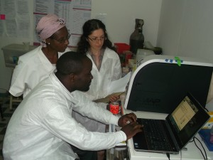 Tropical Medicine PhD Graduate Anna Babakanyan working with researchers in Cameroon.