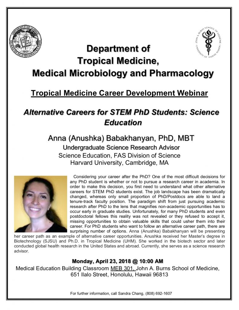 Tropical Medicine Career Development Webinar: Anna
