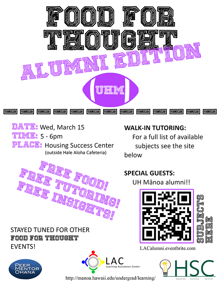food for thought alumni edition flyer march 15. 5-6pm housing success center.
