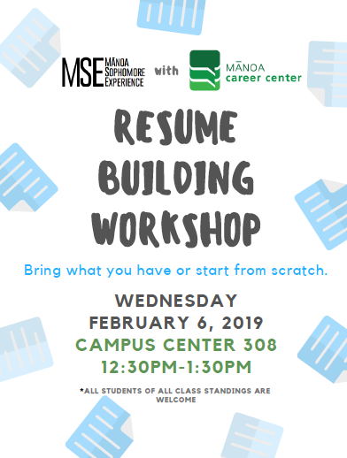 Resume Tips From Manoa Career Center Manoa Sophomore Experience