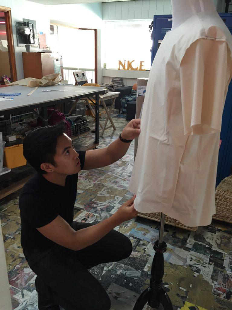 Student making dress