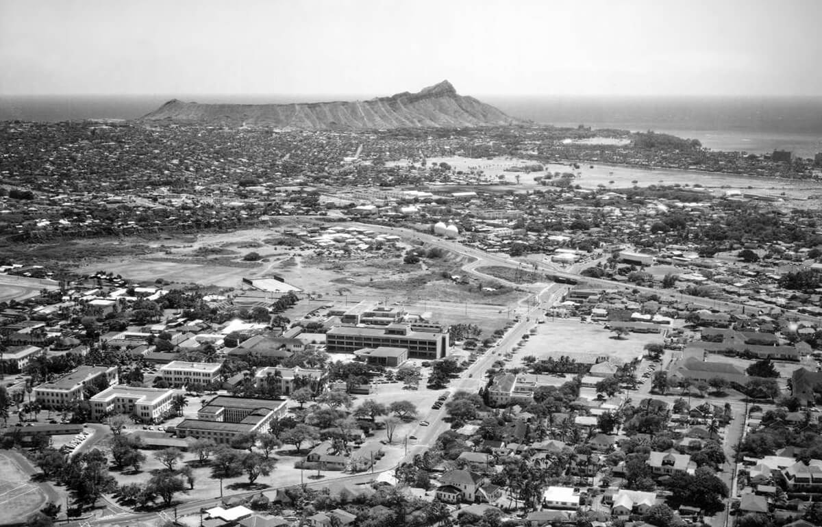 The University, as seen from the air in 1955