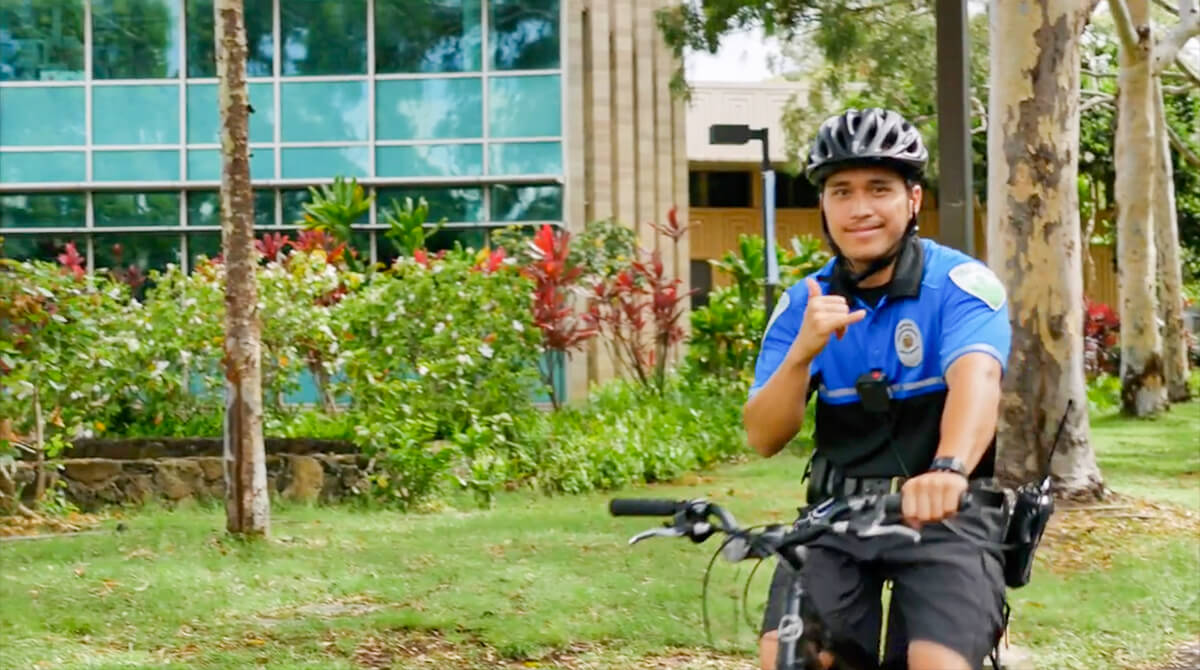 Safety officers patrol the campus 24 hours a day by vehicle and bike and on foot