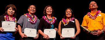 2016 award winners Sherri Yanagi, Reid Kuioka, Rikki Mitsunaga, Irene Burns, and Robert Bachini