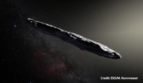 This artist's impression shows the first detected interstellar asteroid ʻOumuamua
