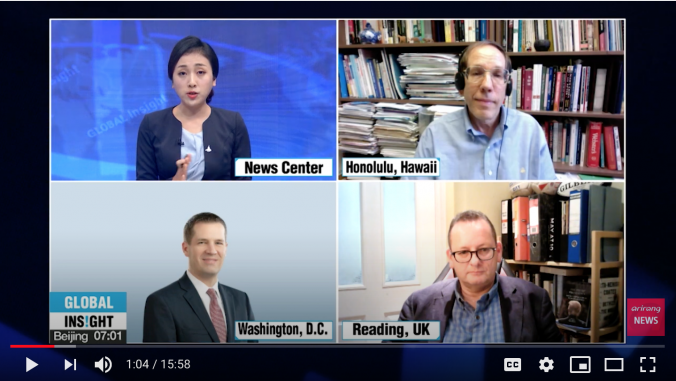 Picture of Prof. Harwit on TV with other panelists