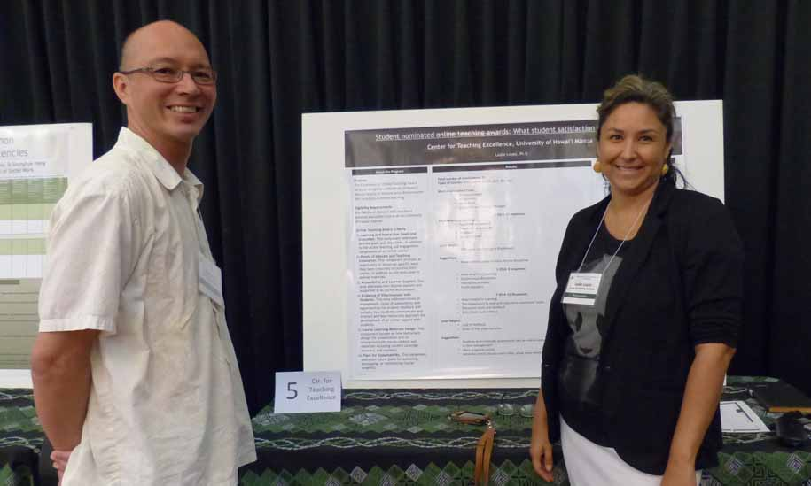 The online teaching award began at Manoa during the 2013-2014 academic year. This poster will present the positive and negative aspects of student nominated awards, present student data, summarize the results of the program, and present what is needed for the program to continue, as well as the future value.