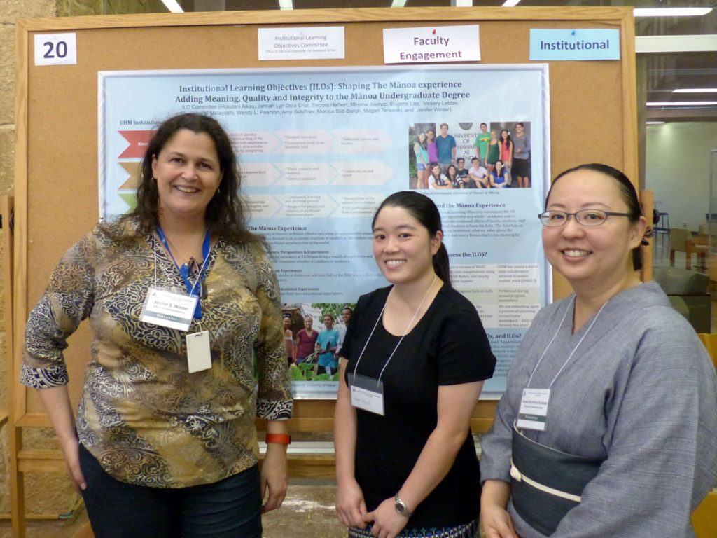 The purpose of this poster is to describe for faculty, staff and students what the ILOs are, why they are important and how faculty can help implement the ILOs. This poster details the ILOs, differentiates ILOs from SLOs and PLOs, and describes how ILOs and assessment fit into the unique context of the Mānoa campus.
