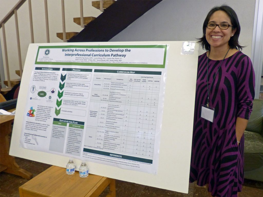This poster presents the assessment of curriculum through the Interprofessional Education committee, which was created in 2015 with the support of the Deans of the John A. Burns School of Medicine, School of Nursing and Dental Hygiene, Myron B. Thompson School of Social Work, the Daniel K. Inouye School of Pharmacy and Director of the Office of Public Health Studies in order to help prepare students for working collaboratively in complex healthcare settings. The process through which the curriculum is assess against the Interprofessional Education Collaborative competencies is outlined. In addition to discussing the identified curriculum gaps and plan for action, a detailed curriculum map is provided.