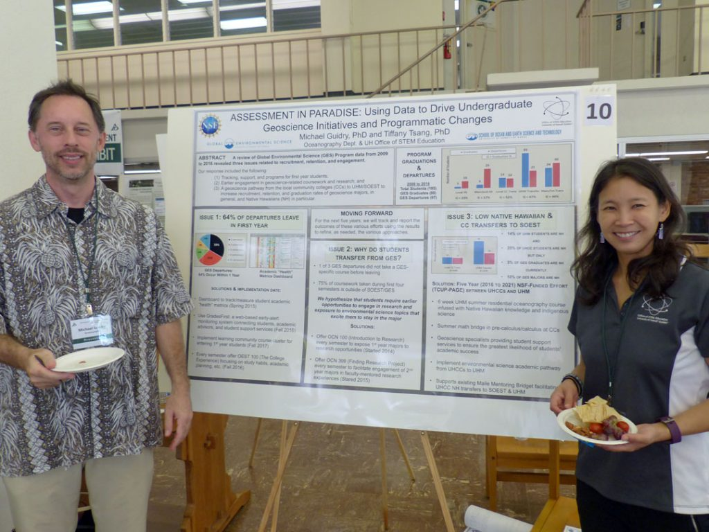 At the University of Hawaii at Manoa (UHM), the undergraduate geoscience programs are housed within the School of Ocean and Earth Science and Technology (SOEST). In this poster trends in student and programmatic data from the undergraduate Global Environmental Science (GES) Program in SOEST were analyzed. It was determined that additional support was needed for the following: (1) students in their first year of the GES program; (2) a geoscience pathway from the local UHCCs to UHM; and (3) a process to increase recruitment, retention, and graduation rates of geoscience majors in general and Native Hawaiians in particular. Initial results from a multifaceted approach are presented in order to address these issues including curricular changes, geoscience pathways from UHCCs to UHM, summer geoscience research program, and an early warning student performance monitoring system.