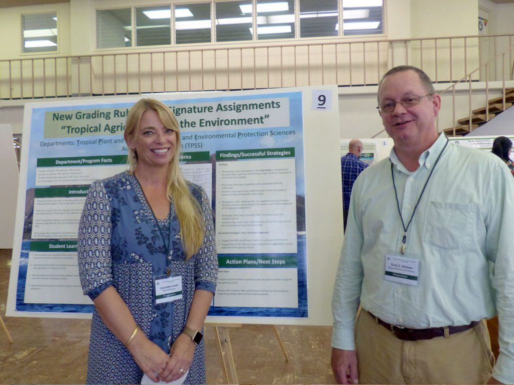 The undergraduate programs from two departments, Tropical Plant and Soil Sciences (TPSS) and Plant and Environmental Protection Sciences (PEPS), merged into a single, new program that began in Fall semester 2016. In this poster, the development of grading rubrics for the signature assignments associated with the various tracks of this new program, named Tropical Agriculture and the Environment (TAE), are presented. The signature assignments used were: (1) an internship; and/or (2) an internship plus a capstone course (PEPS 495). Rubric assessment, review, revision and subsequently approval by the TAE curriculum committee in November 2016 are outlined. Findings of the assessment project are provided including successful strategies using a top-down approach. Action plans and next steps are also described.