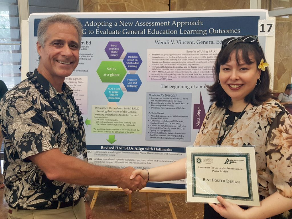In Spring 2016, the General Education Office identified a need to improve its indirect assessment efforts. Working with the co-creators of the Student Assessment of their Learning Gains (SALG) instrument, the office developed and piloted an assessment plan beginning with the Hawaiian, Asian, and Pacific Focus requirement. Through the pilot, the General Education Office aimed to increase familiarity with SALG in order to educate others about its value in improving the quality of instruction; recruit faculty to pilot the use of SALG in HAP-designated courses; and identify how meaningful, usable assessment data could be extracted from SALG to address programmatic and learning needs within the General Education program. This poster provides information on the SALG instrument, outlines the process taken and challenges involved in implementing a new assessment plan, and identifies important next steps in the process.