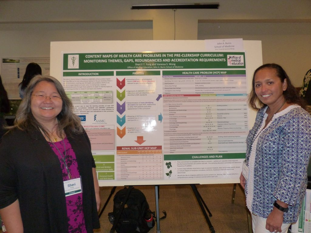 The poster describes the content mapping process that aligned the learning priorities in the problem-based-learning pre-clerkship medical curriculum to accreditation standards and JABSOM's graduation objectives. The resulting map serves as a resource for course directors to monitor content themes, determine curriculum gaps and redundancies, and address accreditation requirements.