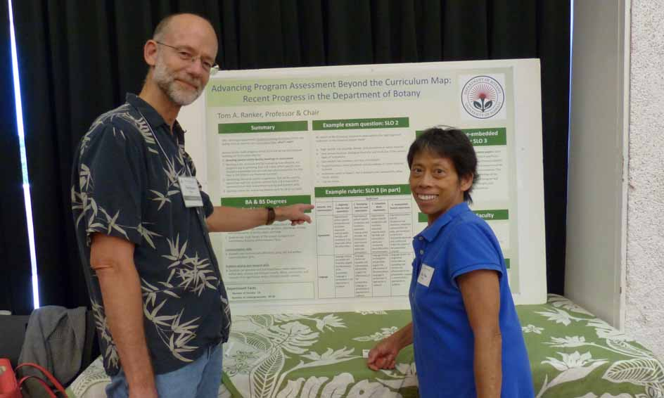 In fall 2014 and spring 2015 the Botany faculty at the University of Hawaiʻi at Mānoa devised programmatic Student Learning Outcomes (SLOs) and linked them to courses via a curriculum map. This poster outlines how the Botany faculty implemented assessment after such steps were taken. A summary of the assessment plan is presented in this poster along with SLOs, a sample rubric, examples of how exams and courses relate to SLOs, and tips for engaging faculty in assessment.