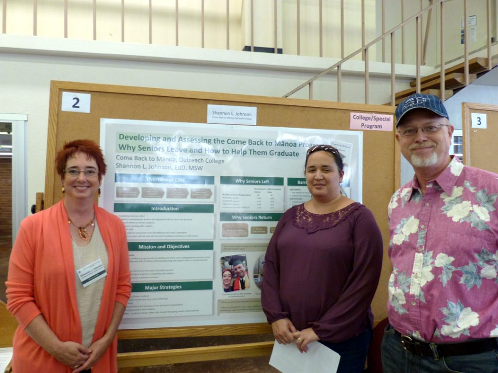 The Come Back to Mānoa program, established in Summer 2014 by the University of Hawaiʻi at Mānoa and housed administratively in Outreach College, assists undergraduate seniors who stopped attending college to return and graduate. This poster provides an overview of the program's development, including creating mission and vision statements and objectives; outreach efforts and participation data; and plans to implement an assessment survey of respondents. In addition to assessing outcomes, the survey evaluated why students left using broad categories from the UHM 2012 Leavers Survey and adding a few more reasons based on relevant literature. Most research on student attrition concentrates on first year and sophomore students, but very little literature focuses on senior attrition and how we might help those students persist to degree (Hunt et al., 2012). The information obtained from the survey is used to improve the Come Back to Mānoa program and contributes to the academic literature. Initial challenges and strategies are also presented.