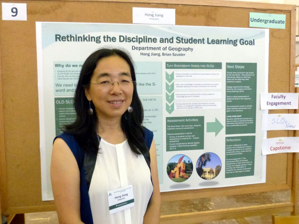 Poster will outline new learning objectives for the Geography department as a result of a faculty discussion of the uniqueness of the discipline and the knowledge we want the students (majors) to take away from. Poster will then discuss methods of direct assessment of certain learning objectives that are included in the capstone course for majors.