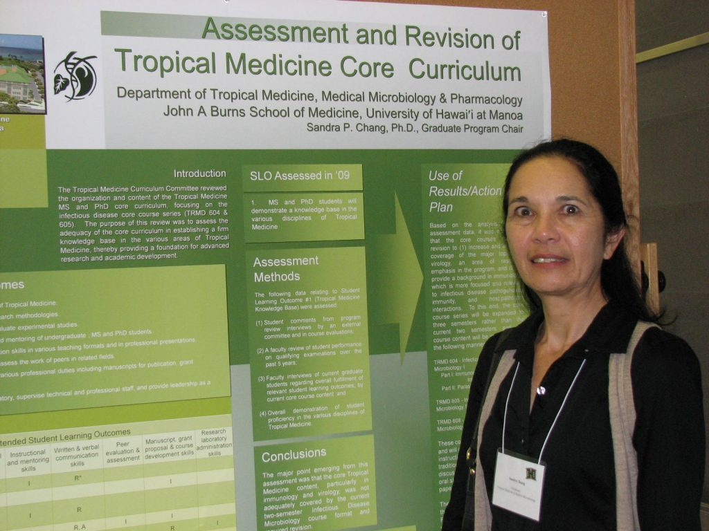 The Tropical Medicine Curriculum Committee reviewed the organization and content of the Tropical Medicine MS and PhD core course series (TRMD 604 & 605). The following data relating to Student Learning Outcome #1 (Tropical Medicine Knowledge Base) were assessed: (1) student comments in program review interviews by an external committee and in course evaluations; (2) faculty review of student performance on qualifying examinations over the past 5 years; (3) faculty interviews of current graduate students regarding specific core content and overall fulfillment of the program's student learning outcomes; and (4) overall demonstration of student proficiency in the various disciplines of Tropical Medicine. The major point emerging from this assessment was that the core Tropical Medicine content, particularly in immunology and virology, was not being adequately covered in the current two-semester Infectious Disease Microbiology course format. Based on the above data, it was decided that the core courses required expansion from two to three semester courses to (1) increase and improve coverage of the major topics in virology, an area of research emphasis in the program, and (2) to provide a background in immunology which is more focused and relevant to infectious disease pathogenesis, immunity, and host:pathogen interactions.
