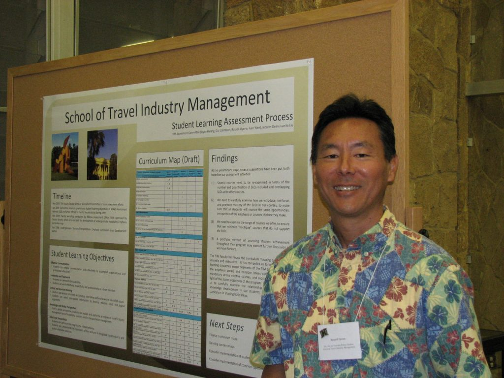 In February 2009, the TIM School, through its Faculty Senate, began a process of program assessment with the guidance and assistance of the Manoa Assessment Office. A team of TIM faculty attended the WASC-sponsored retreat on program assessment, and developed a set of student learning objectives for the TIM program. These objectives were further developed and finalized by the TIM Faculty Senate in March 2009. They then served as the basis for the development of a curriculum map for the Hospitality emphasis courses in April 2009, and for the Tourism/Transportation emphasis courses in October 2009. The TIM School poster will include an overview of this process, as well as its planned next steps and intended uses of the assessment process outcomes.